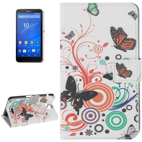 Colorful Design Leather Case with Holder Cards Slots Wallet for Sony Xperia E4(Orange Butterfly)