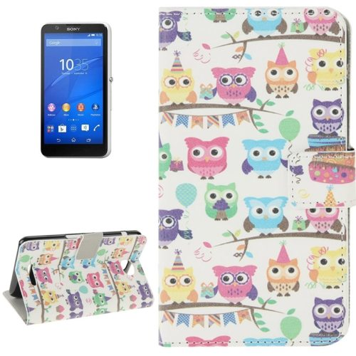 Colorful Design Leather Case with Holder Cards Slots Wallet for Sony Xperia E4(Owl Baby)