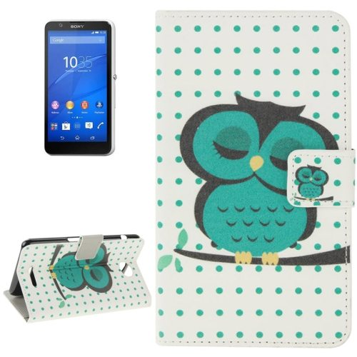 Colorful Design Leather Case with Holder Cards Slots Wallet for Sony Xperia E4(Sleeping Owl )