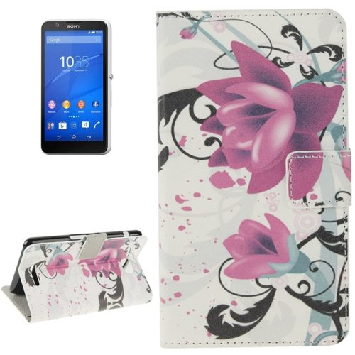 Colorful Design Leather Case with Holder Cards Slots Wallet for Sony Xperia E4( Lotus Flower)