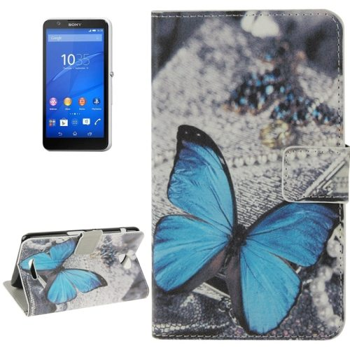 Colorful Design Leather Case with Holder Cards Slots Wallet for Sony Xperia E4(Blue Butterfly)