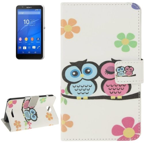 Colorful Design Leather Case with Holder Cards Slots Wallet for Sony Xperia E4(Two Owls )