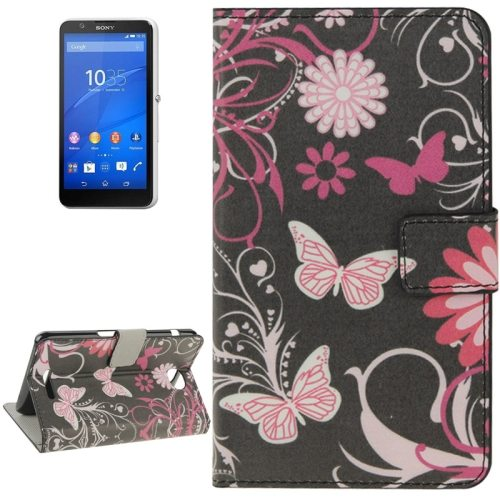 Colorful Design Leather Case with Holder Cards Slots Wallet for Sony Xperia E4((Heart-shaped Flowers)