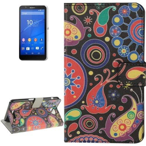 Colorful Design Leather Case with Holder Cards Slots Wallet for Sony Xperia E4(Cartoon Colourful)