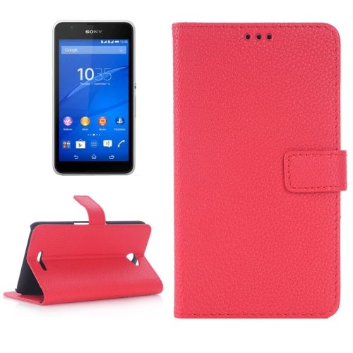 Litchi Texture Flip Wallet Leather Case for Sony Xperia E4 with Card Slots (Red)