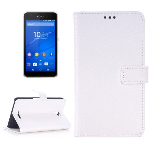 Litchi Texture Flip Wallet Leather Case for Sony Xperia E4 with Card Slots (White)