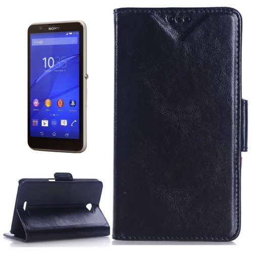 Oil Skin Texture Flip Stand Leather Wallet Case for Sony Xperia E4 with Card Slots (Black)