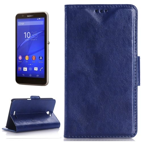 Oil Skin Texture Flip Stand Leather Wallet Case for Sony Xperia E4 with Card Slots (Dark Blue)