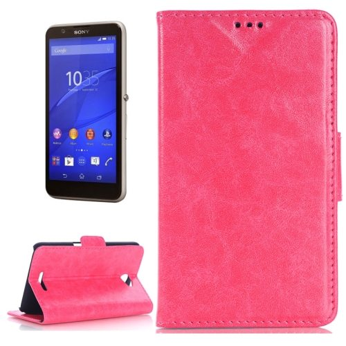 Oil Skin Texture Flip Stand Leather Wallet Case for Sony Xperia E4 with Card Slots (Rose)