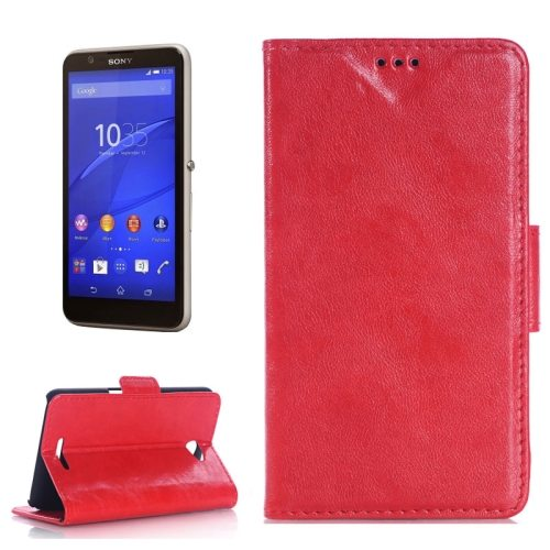 Oil Skin Texture Flip Stand Leather Wallet Case for Sony Xperia E4 with Card Slots (Red)