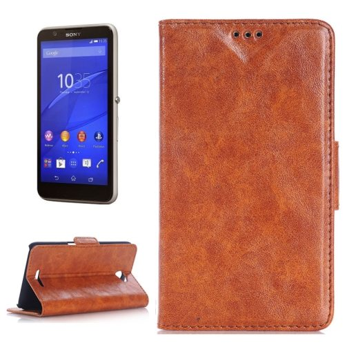 Oil Skin Texture Flip Stand Leather Wallet Case for Sony Xperia E4 with Card Slots (Brown)