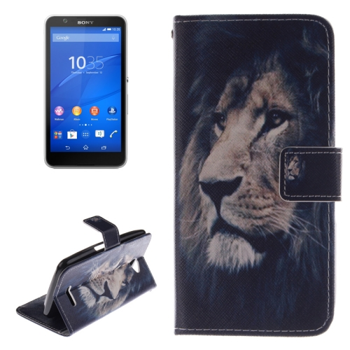 Wallet Style Leather Case Cover for Sony Xperia E4 with Holder and Card Slot (Lion Pattern)
