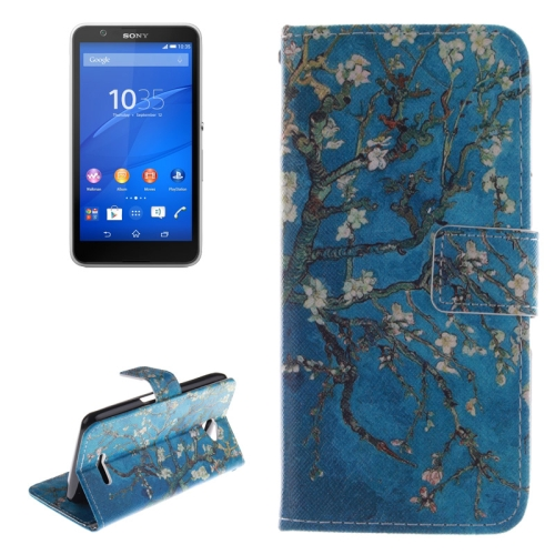 Wallet Style Leather Case Cover for Sony Xperia E4 with Holder and Card Slot (Plum Pattern)