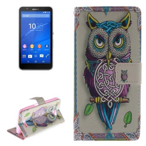 Wallet Style Leather Case Cover for Sony Xperia E4 with Holder and Card Slot (Owl Pattern)
