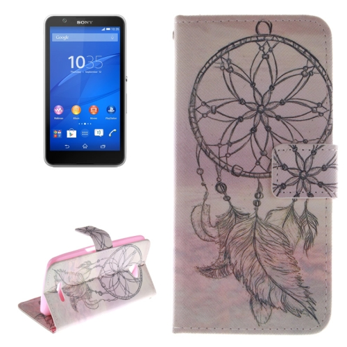 Wallet Style Leather Case Cover for Sony Xperia E4 with Holder and Card Slot (Leaf Pattern)
