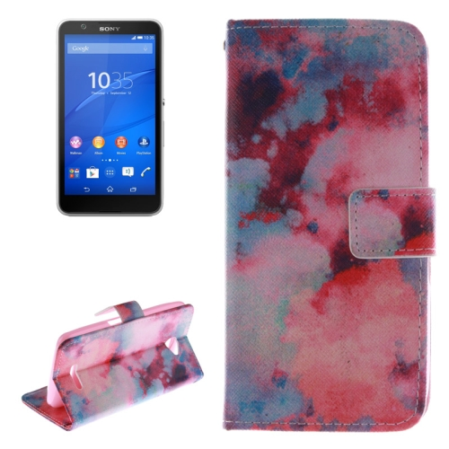 Wallet Style Leather Case Cover for Sony Xperia E4 with Holder and Card Slot (Watercolor Smudge Pattern)
