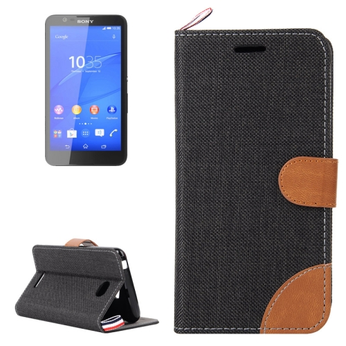 Denim Texture Flip Leather Wallet Case for Sony Xperia E4 with Card Slots & Stand (Black)