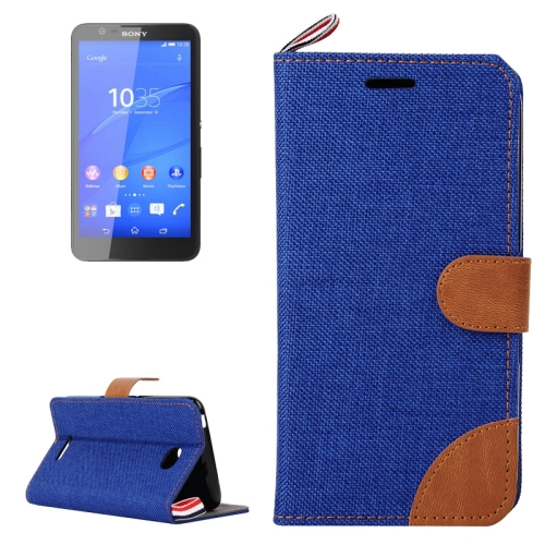 Denim Texture Flip Leather Wallet Case for Sony Xperia E4 with Card Slots & Stand (Dark Blue)