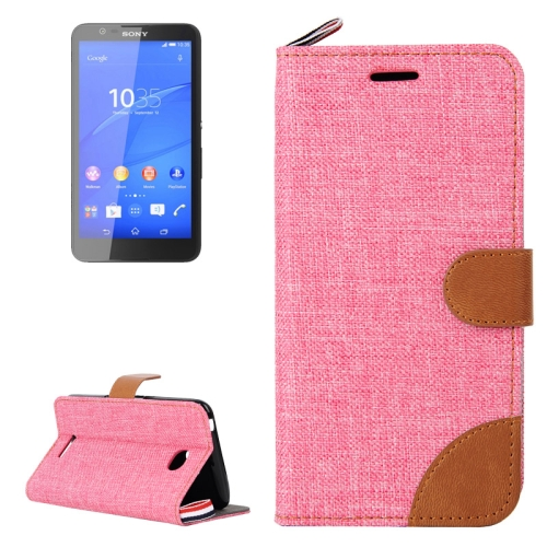 Denim Texture Flip Leather Wallet Case for Sony Xperia E4 with Card Slots & Stand (Pink)