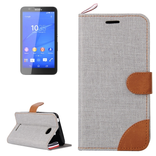 Denim Texture Flip Leather Wallet Case for Sony Xperia E4 with Card Slots & Stand (Grey)