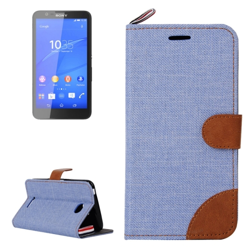 Denim Texture Flip Leather Wallet Case for Sony Xperia E4 with Card Slots & Stand (Light Blue)