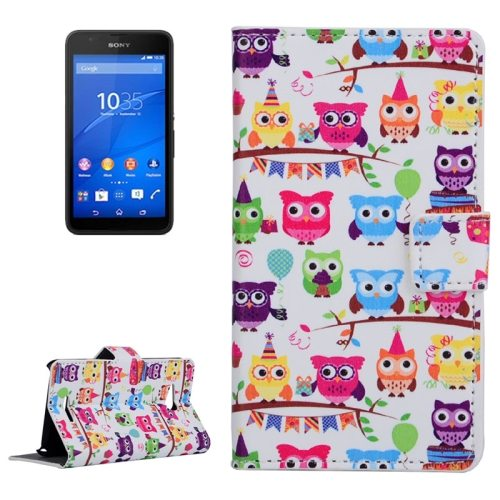 Horizontal Flip Leather Case for Sony Xperia E4g with Card Slots & Wallet (Owl Party Pattern)