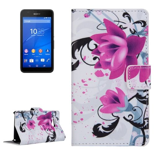 Horizontal Flip Leather Case for Sony Xperia E4g with Card Slots & Wallet (Flower Pattern)