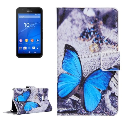 Horizontal Flip Leather Case for Sony Xperia E4g with Card Slots & Wallet (Butterfly Pattern 1)