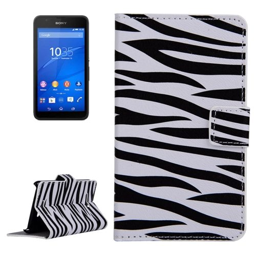 Horizontal Flip Leather Case for Sony Xperia E4g with Card Slots & Wallet (Zebra Pattern)