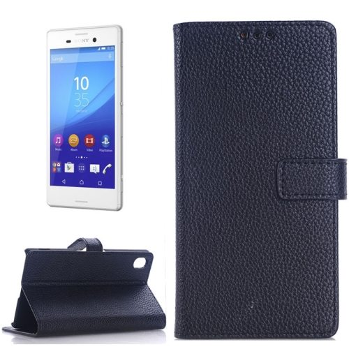 Litchi Texture Flip Wallet Leather Case for Sony Xperia M4 Aqua with Card Slots (Black)