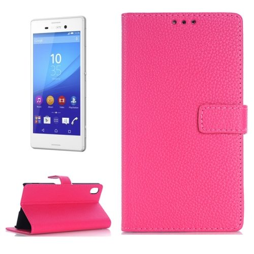 Litchi Texture Flip Wallet Leather Case for Sony Xperia M4 Aqua with Card Slots (Magenta)