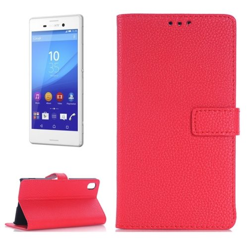 Litchi Texture Flip Wallet Leather Case for Sony Xperia M4 Aqua with Card Slots (Red)