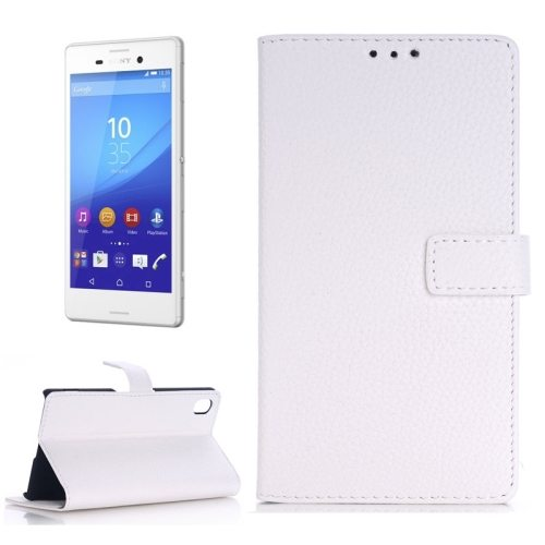 Litchi Texture Flip Wallet Leather Case for Sony Xperia M4 Aqua with Card Slots (White)