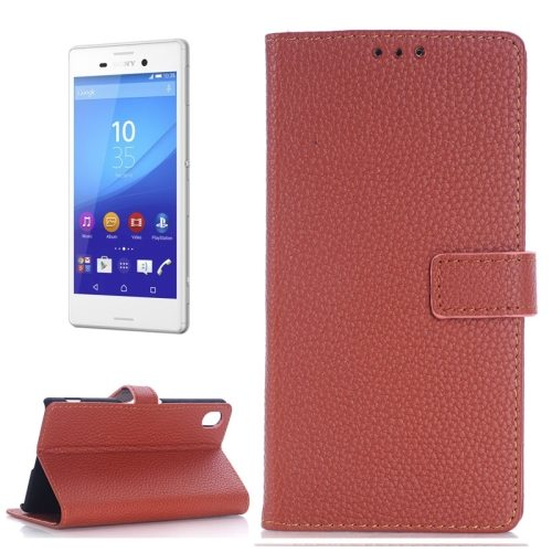 Litchi Texture Flip Wallet Leather Case for Sony Xperia M4 Aqua with Card Slots (Brown)