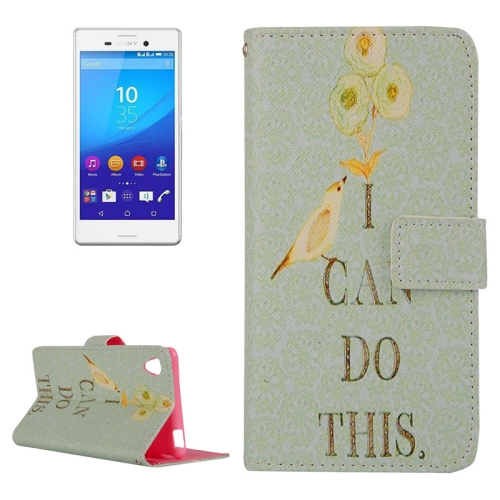 Cross Texture Flip Leather Case for Sony Xperia M4 Aqua with Holder & Card Slots (Pattern 1)
