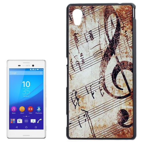 Smooth Surface Protetive Hard PC Case for Sony Xperia M4 Aqua (Retro Musical Note Pattern)