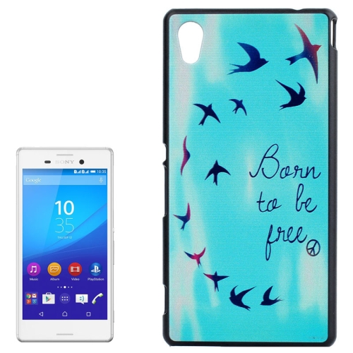Smooth Surface Protetive Hard PC Case for Sony Xperia M4 Aqua (Words and Flying Birds Pattern)