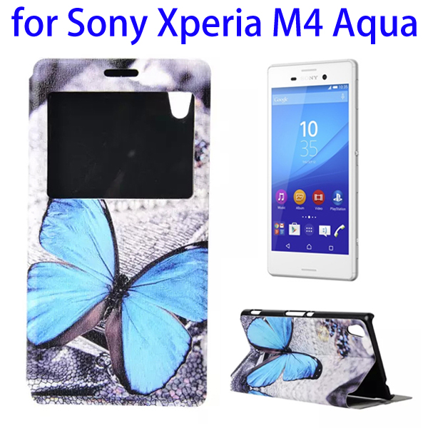Color Printing Pattern Flip Leather Wallet Case for Sony Xperia M4 Aqua with Holder & Card Slots (Butterfly)