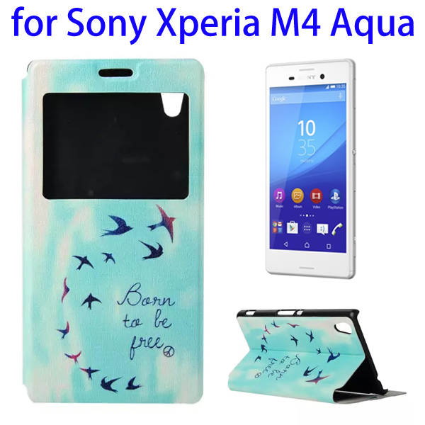 Color Printing Pattern Flip Leather Wallet Case for Sony Xperia M4 Aqua with Holder & Card Slots (Birds)
