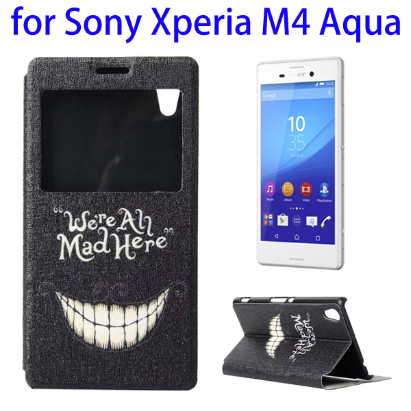 Color Printing Pattern Flip Leather Wallet Case for Sony Xperia M4 Aqua with Holder & Card Slots (Smile)