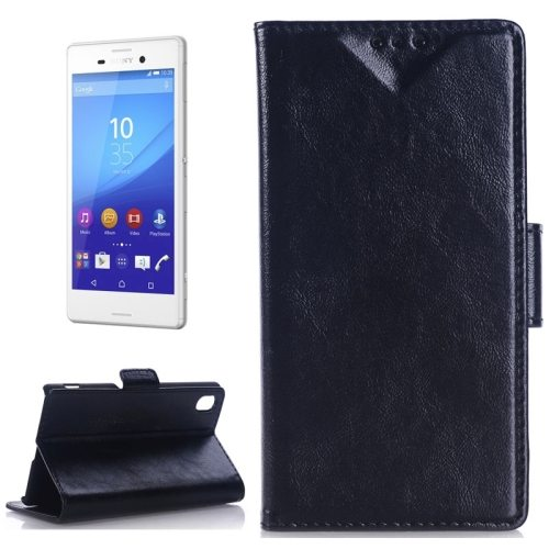 Oil Skin Texture Wallet Flip Leather Case Cover for Sony Xperia M4 Aqua (Black)