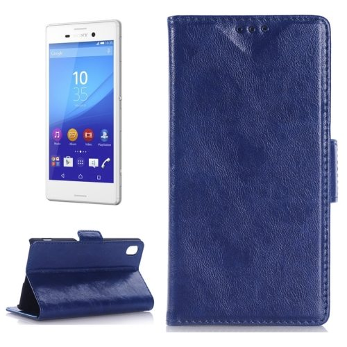 Oil Skin Texture Wallet Flip Leather Case Cover for Sony Xperia M4 Aqua (Dark Blue)