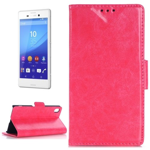 Oil Skin Texture Wallet Flip Leather Case Cover for Sony Xperia M4 Aqua (Magenta)