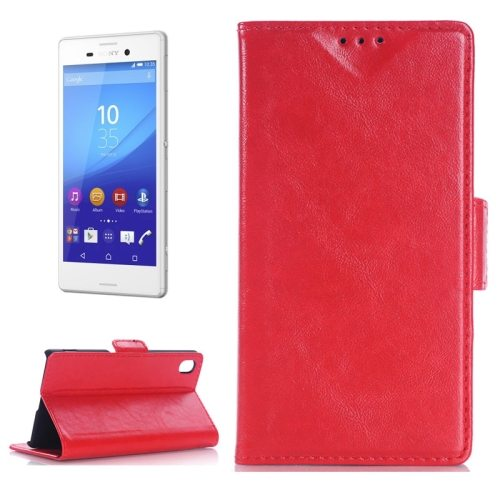Oil Skin Texture Wallet Flip Leather Case Cover for Sony Xperia M4 Aqua (Red)