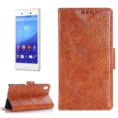 Oil Skin Texture Wallet Flip Leather Case Cover for Sony Xperia M4 Aqua (Brown)
