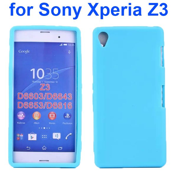 Smooth Surface Soft Silicone Case for Sony Xperia Z3 (Light Blue)