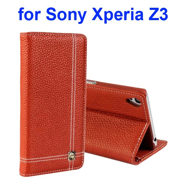 Litchi Texture Foldable Genuine Wallet Leather Cover for Sony Xperia Z3 with Holder (Brown)