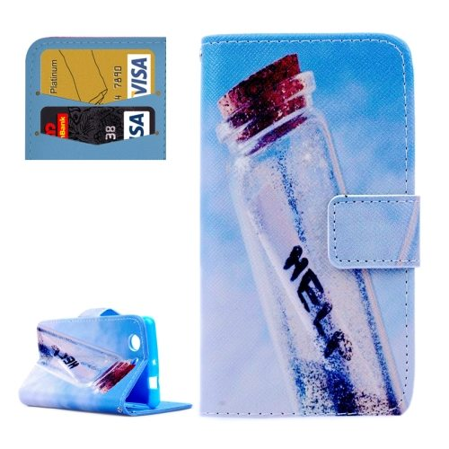 Cross Texture Flip Wallet Cover for Sony Xperia Z3 Compact/ Z3 mini with Card Slots (HELP Pattern)