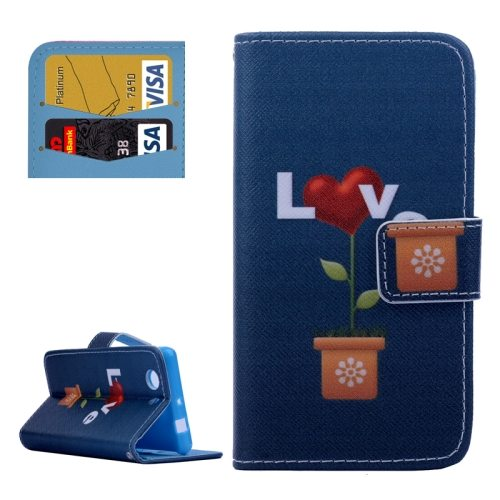 Cross Texture Flip Wallet Cover for Sony Xperia Z3 Compact/ Z3 mini with Card Slots (LOVE Pattern)