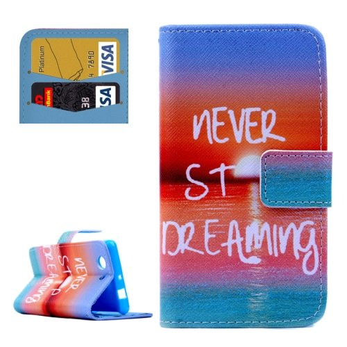 Cross Texture Flip Wallet Cover for Sony Xperia Z3 Compact/ Z3 mini with Card Slots (NEVER STOP DREAMING Pattern)